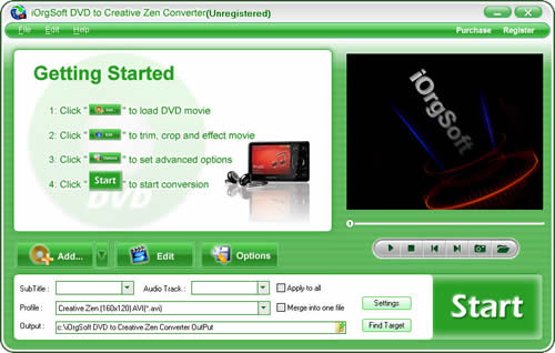 DVD to Creative Zen Converter