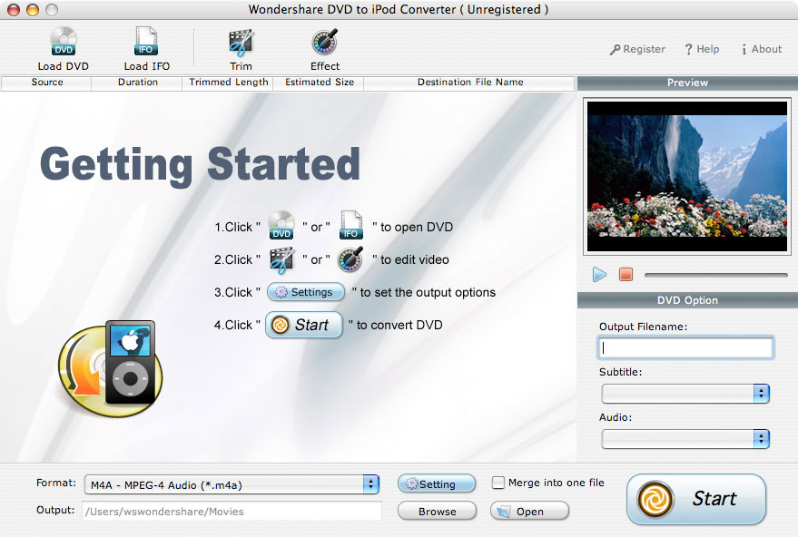 Convert and Rip DVD Movie to iPod mp3, mp4, aac, m4a, wav, H264