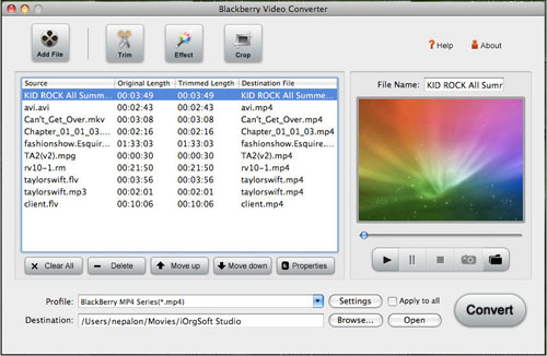 Video to BlackBerry Converter for Mac