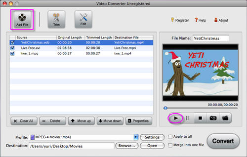 Load VOB files to Video Converter, you can preview the videos by click
