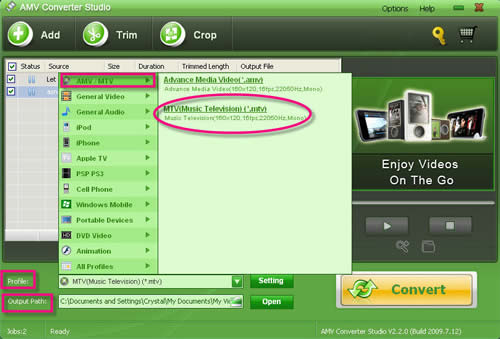 Convert avi/mpg/wmv/vob/mp4/mov/flv/swf/mkv/ to .mtv files with Video to MTV Converter