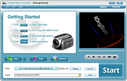 Convert MOD to Video for Windows