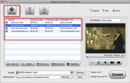 Import M4v to iMovie.
