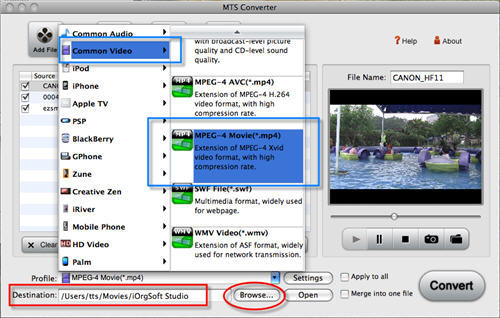 Import mts into imovie with MTS to iMovie Converter