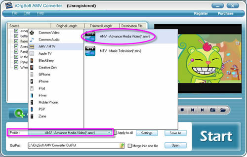 Convert video to amv with AMV Converter