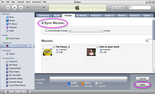 Sync video to iPod